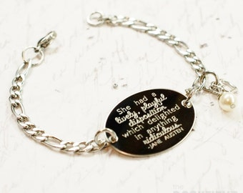 She had a lively playful disposition Jane Austen quote oval bracelet, stainless steel with swarovski crystal or pearl