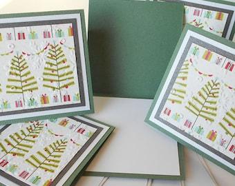 Christmas Miniature Note Cards:  Handmade Blank / 5 Pack Set - Tree Farm