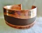 Chocolate Brown Leather and Copper Cuff Bracelet