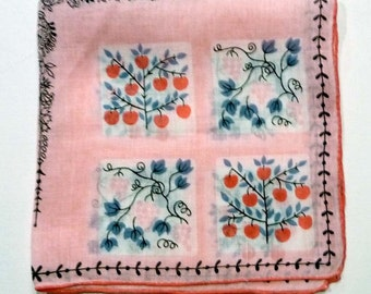 Vintage Jo Copeland Handkerchief - Apples and Grapevines - Pink Abstract Hanky -  Vintage Hankie - 1960's Mod Hanky