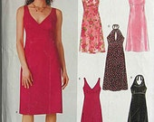 Easy Misses' Summer Dresses, Halter, Sleeveless, New Look 6375 Sewing Pattern UNCUT Sizes 6-16