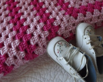 Crocheted Classic Style Granny Square Baby Blanket in Two Shades of Pink