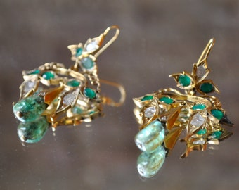 Emerald, Diamond & 14kt Gold Victorian Chandelier Dangle Earrings- Repro