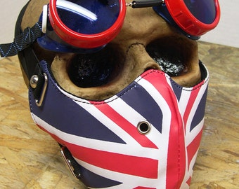 2 pc. set Red, White, Blue BRITISH UNION JACK Dust Riding Mask with Matching Goggles - A Burning Man Must Have