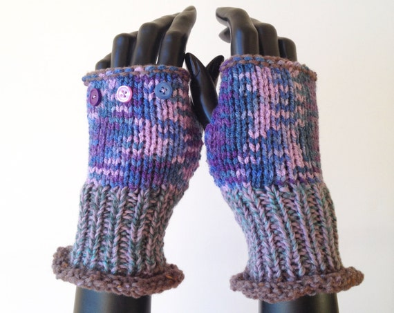 Fingerless Gloves - Bilberry Frilly Fingers - Purple Fingerless Mittens