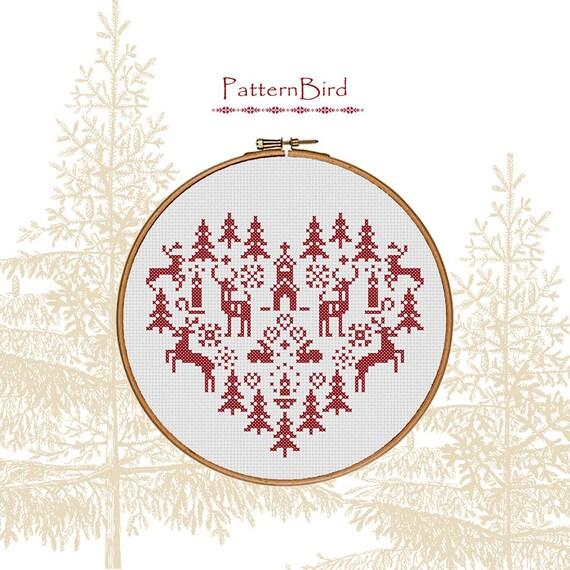 Christmas heart. Instant Download PDF Cross Stitch Pattern