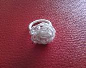 Tatting Ring White Rose