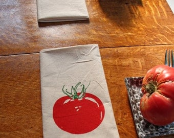 Cotton Napkins - Tomato hand screen printed set of 2 dinner napkins - ecofriendly - reusable napkins for your table