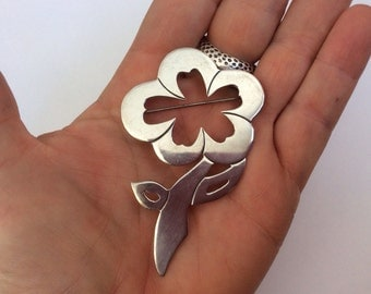 Vintage Mexican Sterling Silver flower . Pin . Pendant large