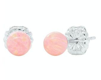 4mm Pink Angel Skin Australian Opal Ball Stud Earrings, 925 Sterling Silver, Small Minimalist Earrings, Tiny, Petite, Pink Opal Earrings