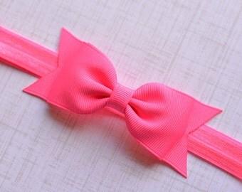 Neon PInk Bow Headband. Neon Pink Hair Bow Headband. Black Baby Headband. Baby Hair Accessories. Girls Hair Accessories. Hot Pink. Neon Pink