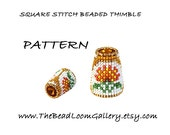 Beaded Thimble with Swarovski Rivoli Top - Delica Beads PDF PATTERN - Square Stitch - Vol.29 - The November Chrysanthemum Thimble