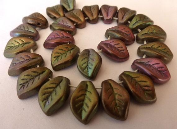 25 Czech Glass Leaf Beads in Metallic Matte Olive Copper 9x14mm