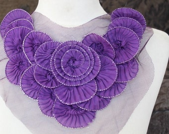 Nice ruffled  applique yoke purple  color  1 pieces listing