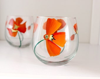 Single California Poppy Hand Painted Wine Glass