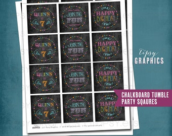 Chalkboard Tumble Party Circles by Tipsy Graphics. Printable File. Cupcake Toppers or Favor Tags