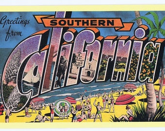 Greetings From Southern California 1987 Art Postcard