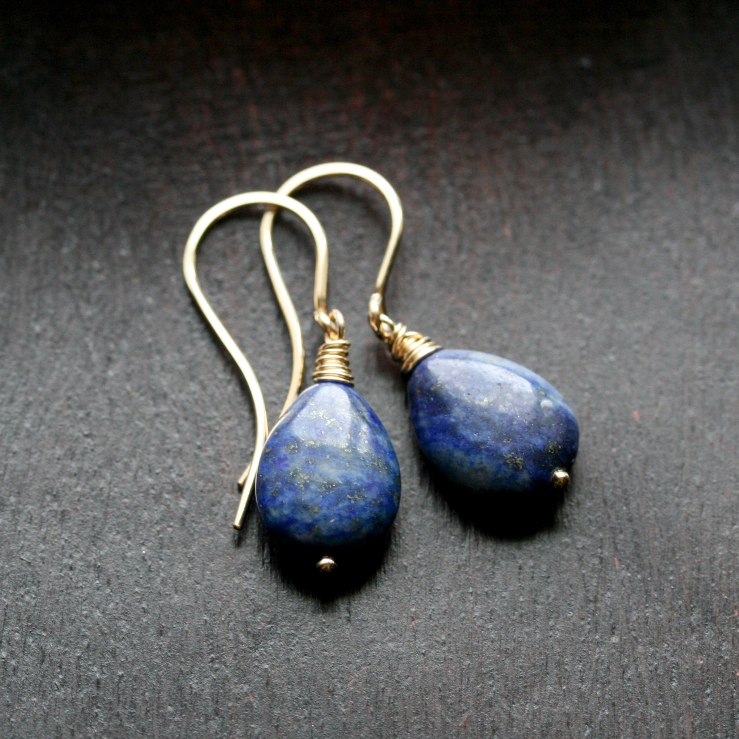 lapis drop earrings denim blue lapis lazuli 14k gold