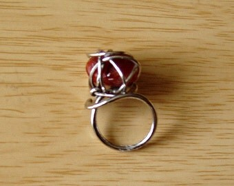 Carnelian  stone Ring from Wood Stock era. Size 8