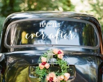 Happily Ever After Wedding Getaway Car Sign Vinyl Wall Decal Sticker