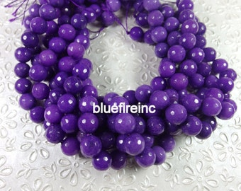 32 pcs 12mm round faceted Purple color jade beads