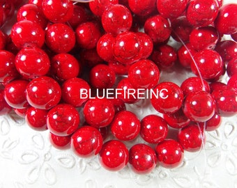 48 pcs 8mm round smooth dyed howlite beads