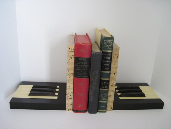 Music bookends upcycled antique piano keys by pastversuspresents - Piano bookends ...