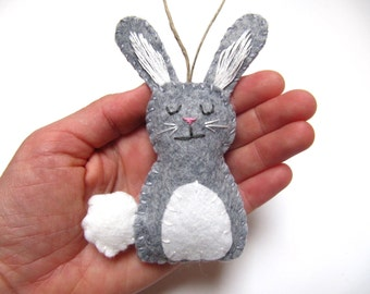 Bunny Ornament, Felt Ornament, Bunny Rabbit Ornament, Wool Felt Bunny Ornament, Woodland Ornament, GREY Custom Bunny Ornament, Easter Bunny