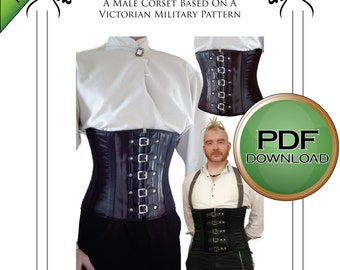 """Gentleman's Victorian Gothic Steampunk Military Corset Sewing Pattern 28"""" - to 36"""" waists"""