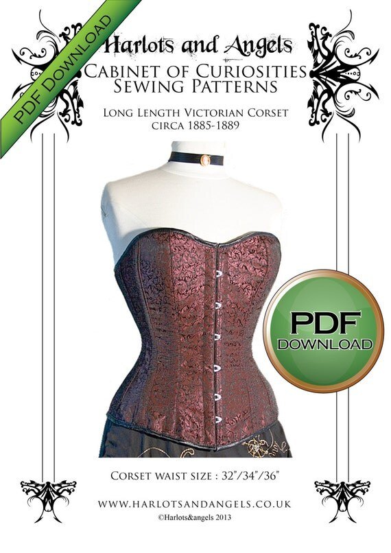 Steampunk Corsets & Belts | Underbust, Overbust Victorian LARGE Steampunk Over bust Long Line corset Sewing pattern PDF Download size Large $8.00 AT vintagedancer.com