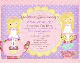 Tea Party Invitation Birthday Twincess Tea -Digital File