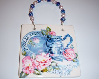 Cottage Chic Dining With Roses Ceramic Wall Plaque, Shabby Chic, Cottage, Beaded Wire Hanger, Roses, Blue and White China