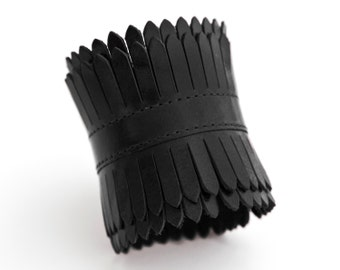 Black leather fringe cuff, festival jewelry  - the Elektra