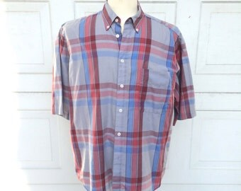 Levis Vintage Plaid Oxford Shirt Blue Red Gray Short Sleeve Summer Button Up Shirt Men Large