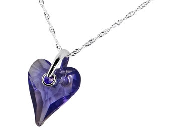 Wild Heart Tanzanite Crystal on Twisted Silver Chain Necklace