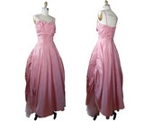 1950s Pink Taffeta Formal Ball Gown Prom Spring Formal