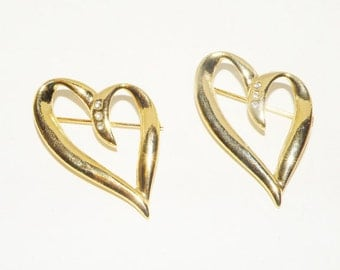 Vintage Rhinestone Double Heart Scatter Pins