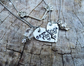 NEW-Pewter Best Friends Forever Hand Stamped Broken Heart Necklace