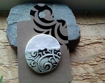 Ceramic Button Black Gray and White