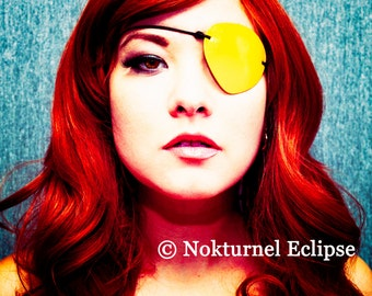 SMALL Yellow Leather Eye Patch Pirate Halloween Cosplay Horror Geek Costume Party Unisex CONCAVE SHAPE - Available Any Basic Color