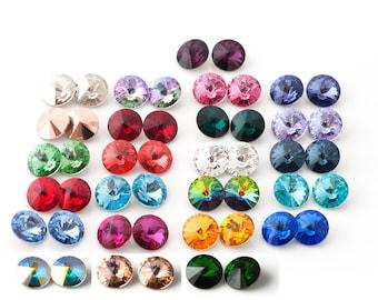 12 Swarovski Rivoli 8mm stones (foil back) - pick your colors
