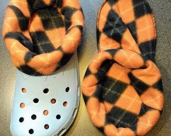 Socks / liners for croc, crocs or clogs -  ORANGE AND BLACK