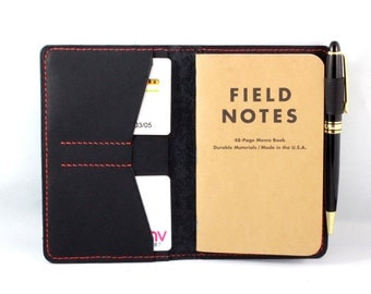 Hand-Stitched Journal cover in Baseball Glove Leather for Field Notes - Moleskine pocket size with a pen loop and card slots