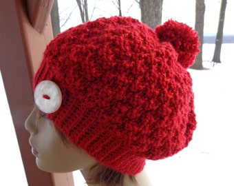 Knitted Beanie In Red Shimmer Yarn