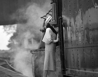 Boarding the steam train 7x5 black and white, retro style fine art photograph