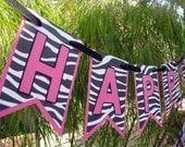 Zebra Birthday Banner, Zebra Print Birthday Decor, Photo Prop - MADE TO ORDER