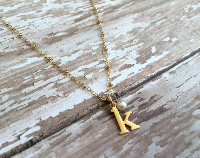"Tiny Gold Initial Necklace--16"" or 18"" Length"