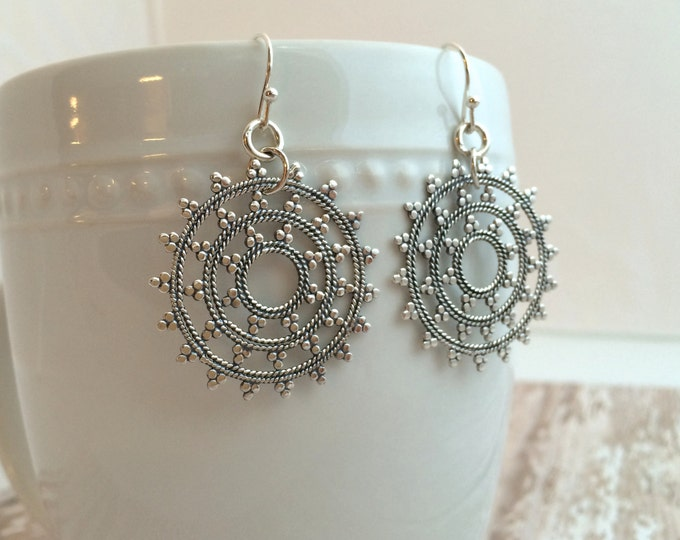 Sterling Silver Medium Snowflake Mandala Earrings. Medium Boho Earrings