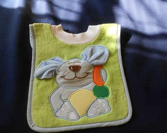 Bunny with Washcloth, over the head bib