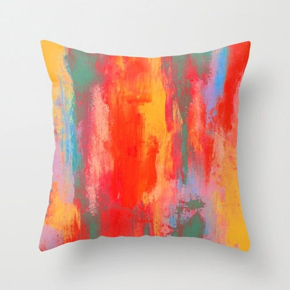 Bright Throw Pillow Teal Orange Yellow and Purple by LizMosLoft